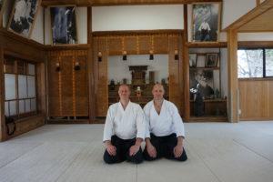 Jaakko med Fredrik sensei i Iwama dojo.